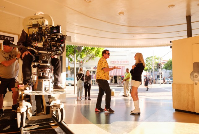 Quentin Tarantino and Margot Robbie on the set of ONCE UPON A TIME IN HOLLYWOOD.