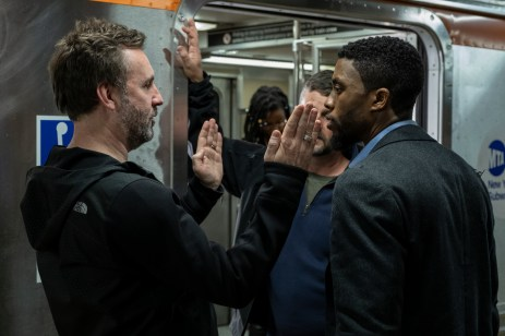 Director Brian Kirk with Chadwick Boseman on the set of 21 BRIDGES