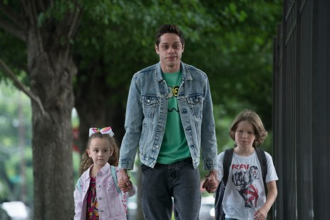 (from left) Kelly (Alexis Rae Forlenza), Scott Carlin (Pete Davidson) and Harold (Luke David Blumm) in The King of Staten Island, directed by Judd Apatow.