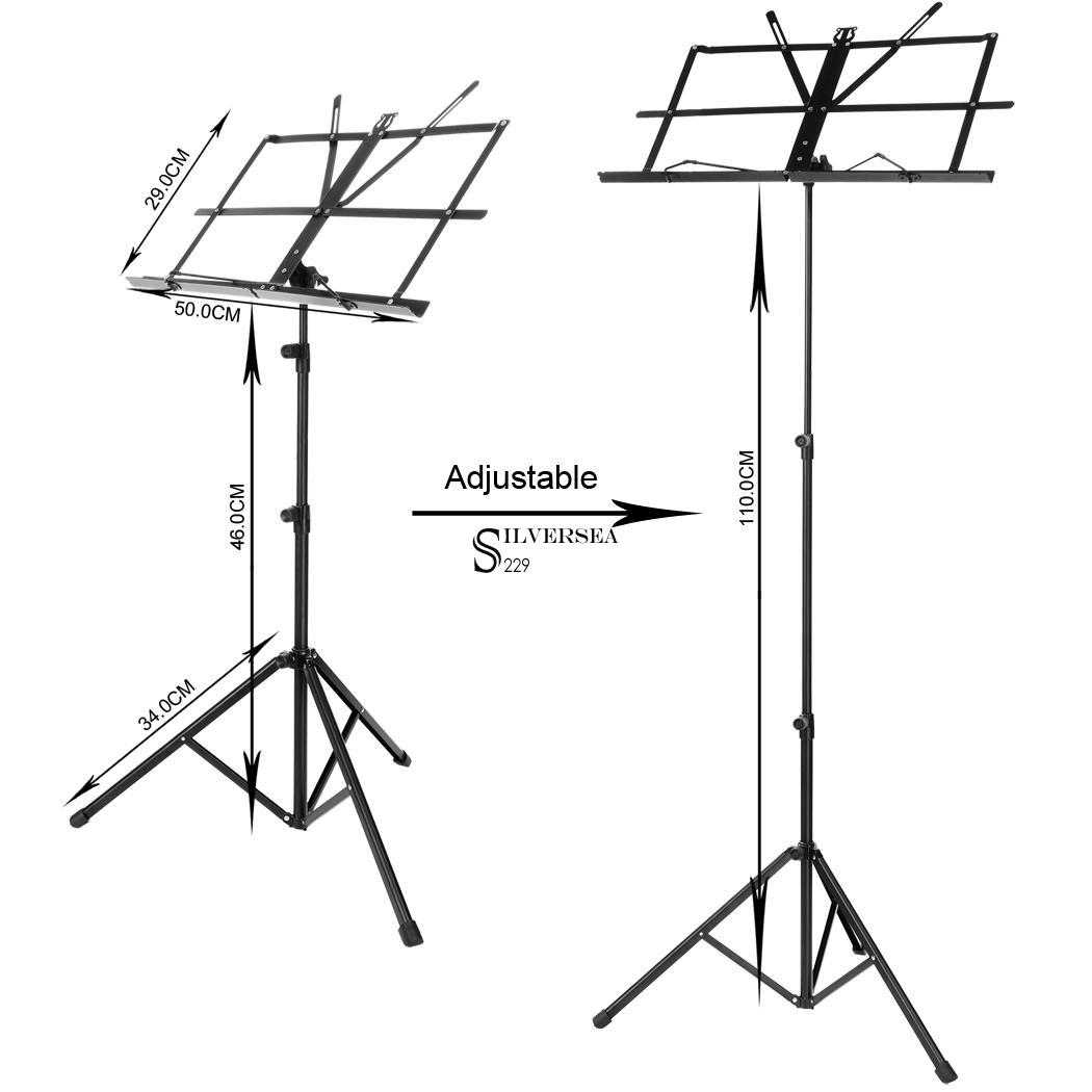 Heavy Duty Sturdy Folding Black Sheets Music Stand With