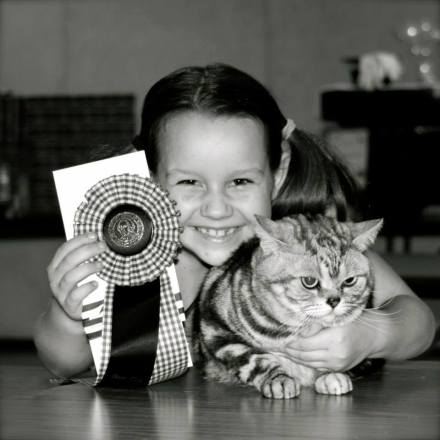 Black and white image of little girl with American Shorthair silver tabby cat winning best in show