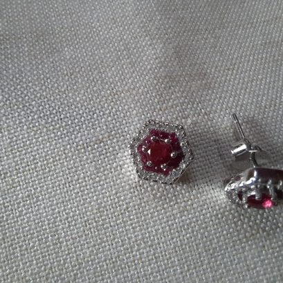 pink stone silver studs