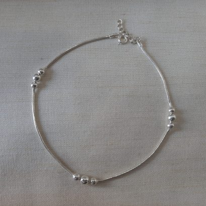 ball silver anklet