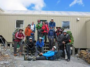 The class, minus photographer, after a week of hut living