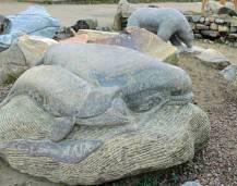 A stone carving in Iqaluit celebrates sea mammals