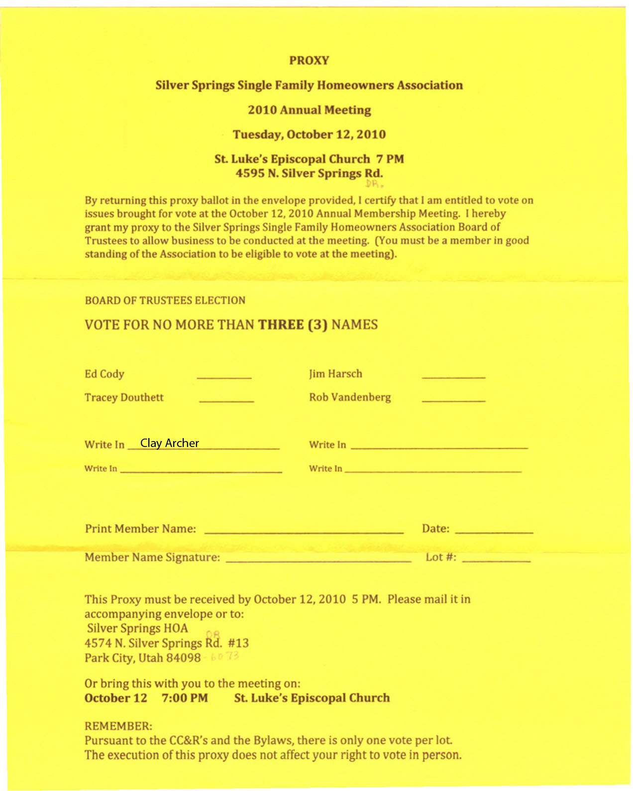 Oct Resume Application Silver Springs Community2010 Oct 12 Sssf Hoa Annual