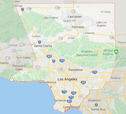 Los Angeles county outline on Google Maps.