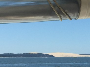 View of the Dunes de Pilat, the highest in Europe, from the ferry.