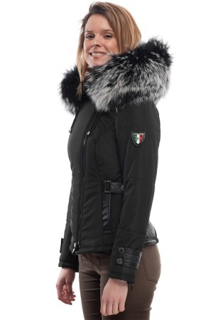 PUFFER JACKET IN FABRIC AND BLACK LEATHER WITH FUR
