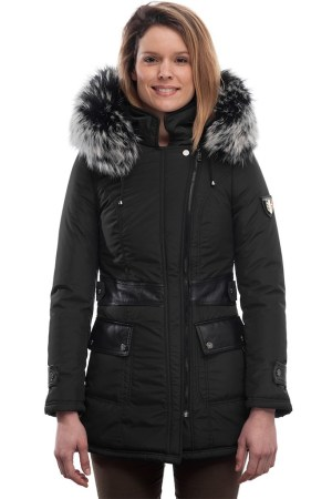 PUFFER JACKET IN BLACK FABRIC WITH BLACK LEATHER AND FUR