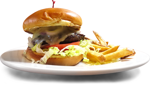 Photo of limited time Chimichurri Burger served with a pile of fries.