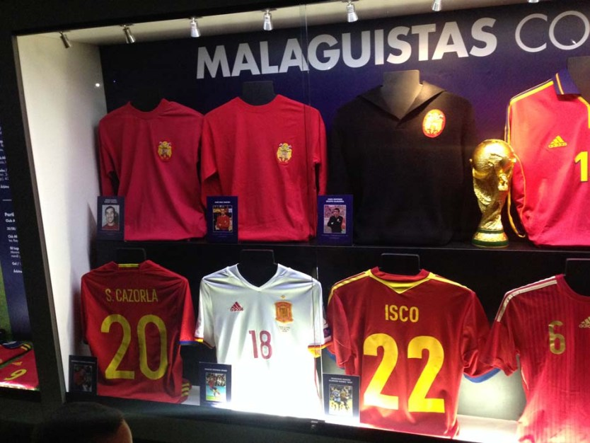 Shirts of former players at La Rosaleda