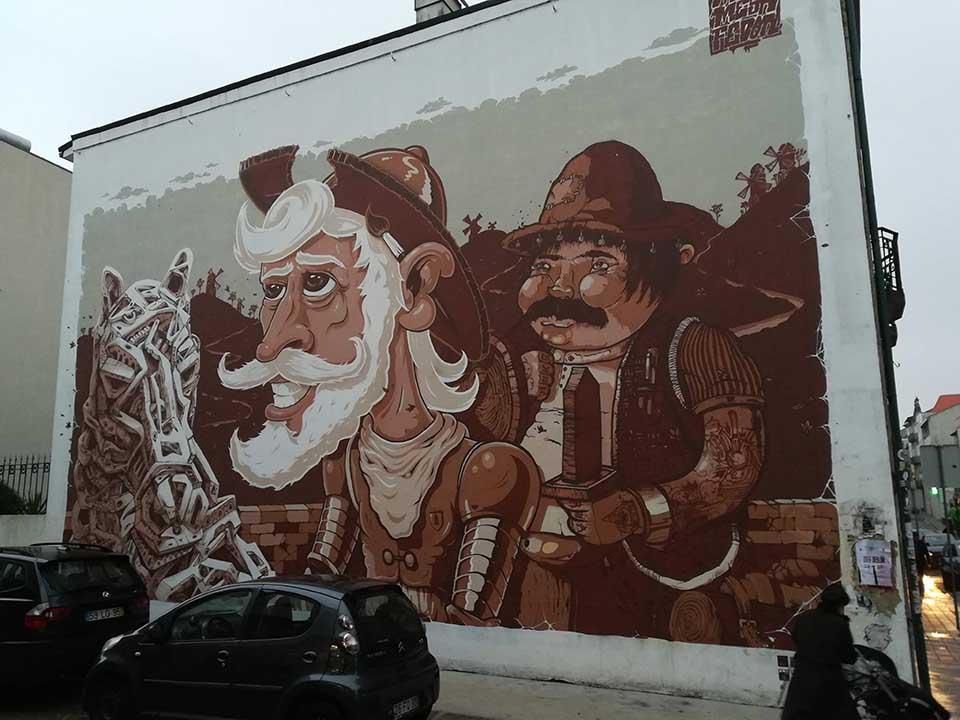 Don Quixote & Sancho Panca mural in Porto