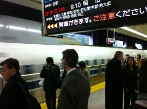 Shinkansen coming to a stop (c) 2011 Silverton Consulting, All Rights Reserved