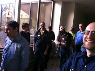A photo of bloggers and HP personnel waiting to go on the lab tour