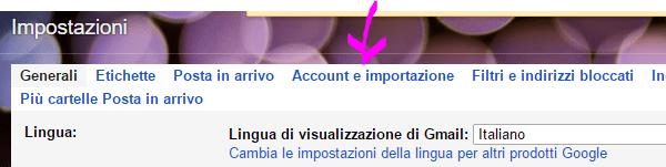 Account e importazione Gmail