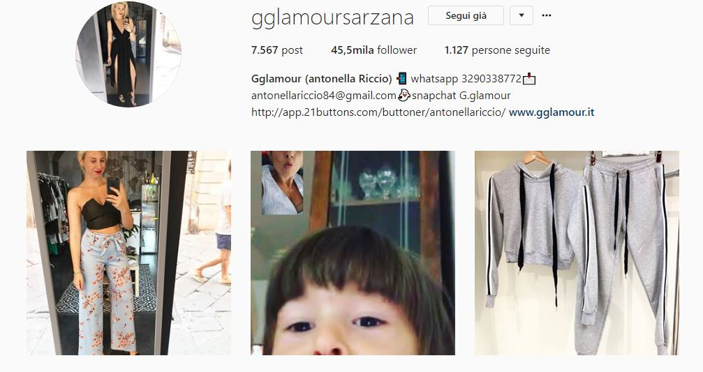 Profilo isntagram @gglamoursarzana
