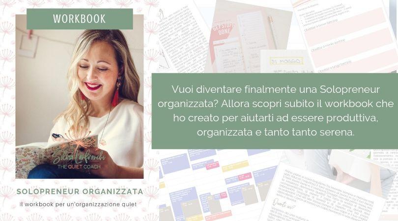 Solopreneur organizzata workbook gestione del tempo silvia lanfranchi
