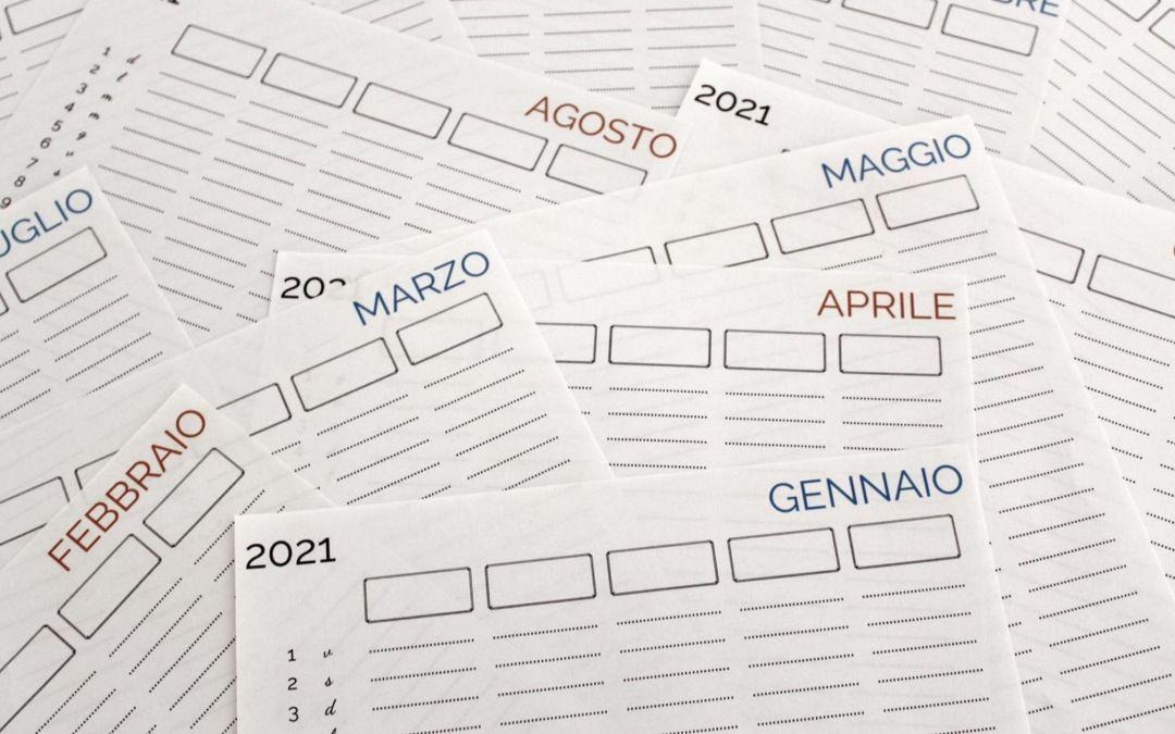 Il calendario della famiglia 2021