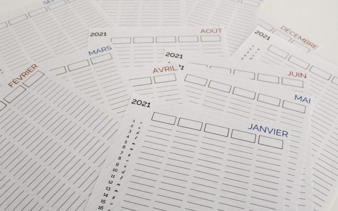 Le calendrier de la famille 2021