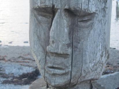 Easter Island-inspired carving outside Centre d'art Marcel Gagnon