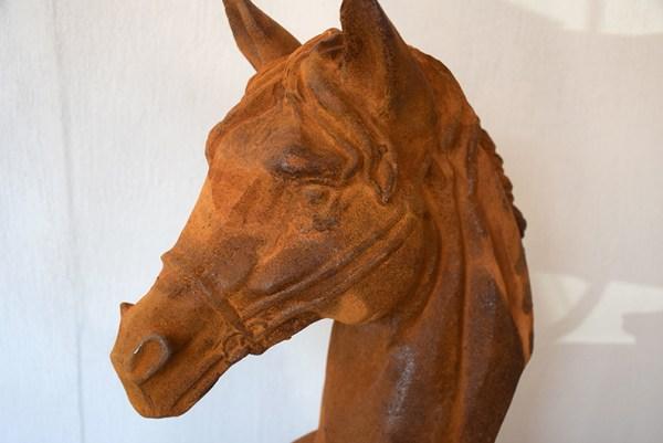 SW-136 verroest gietijzeren paardenhoofd beeld