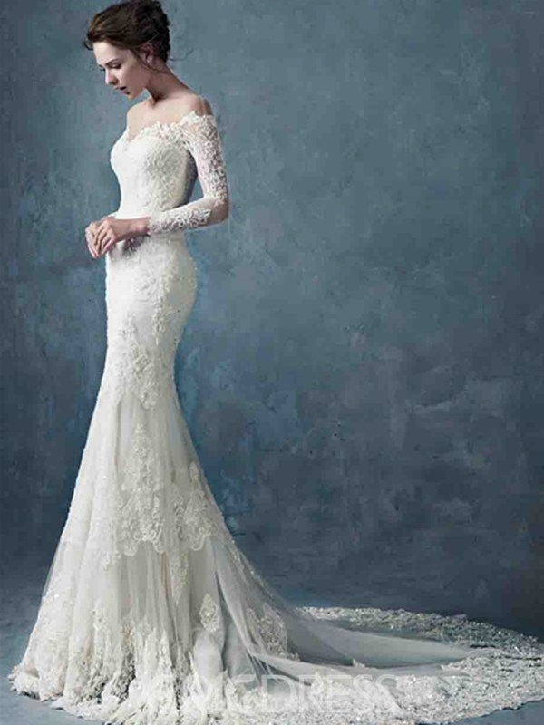 Long Lace Mermaid Wedding Dress with Sleeves