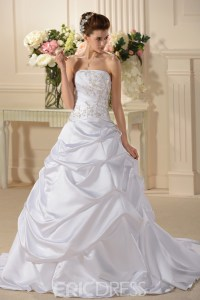 Fancy A Line/Princess Strapless Chapel Train Wedding Dress