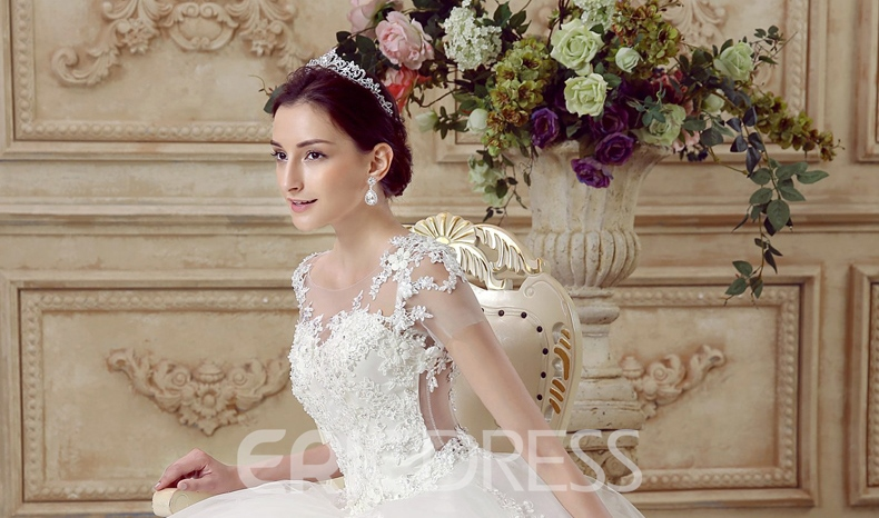 Ericdress Modest Scoop Ball Gown Lace Backless Wedding