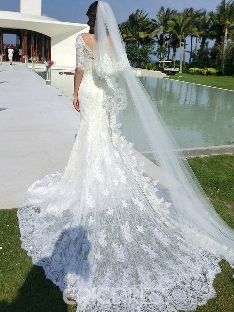 Ericdress Elegant Half Sleeves Lace Train Mermaid Wedding