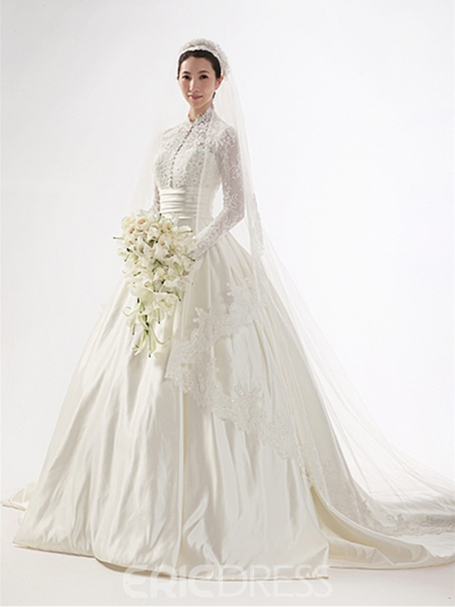 Gorgeous Aline Highneck Long Sleeves Chapel Train Wedding Dress 8888809  Ericdresscom