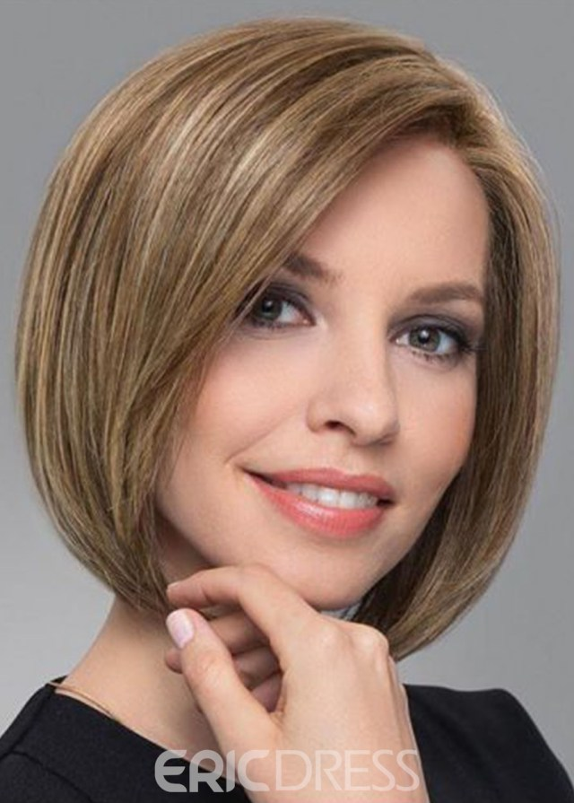 ericdress women's short bob hairstyles blonde straight 100% human hair wigs lace front wigs 12inch