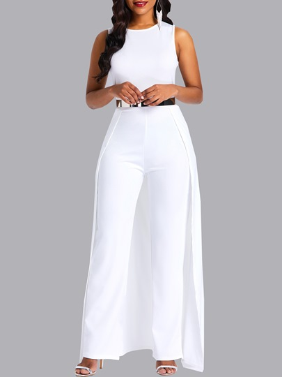 Full-Length Plain Slim WhiteJumpsuit