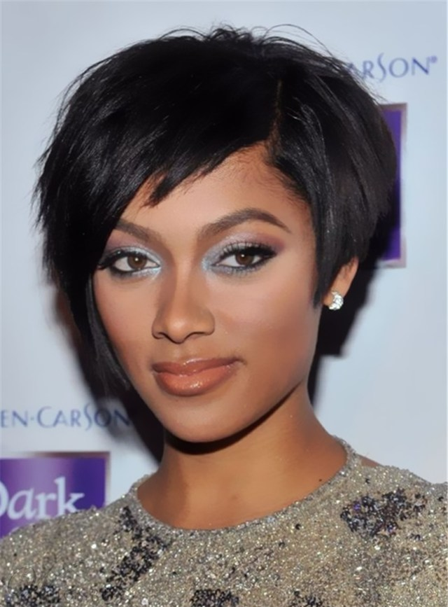 elegant tilted smooth layered natural short bob hairstyle