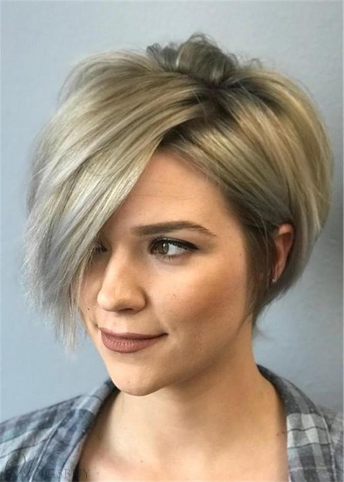 pixie short one side part bangs straight synthetic hair