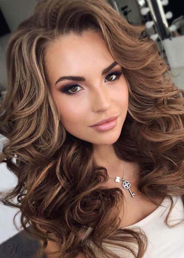 long big curly layered hairstyle full fringe synthetic