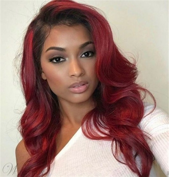 wigsuby 33# red color human hair body wave hair weave: m