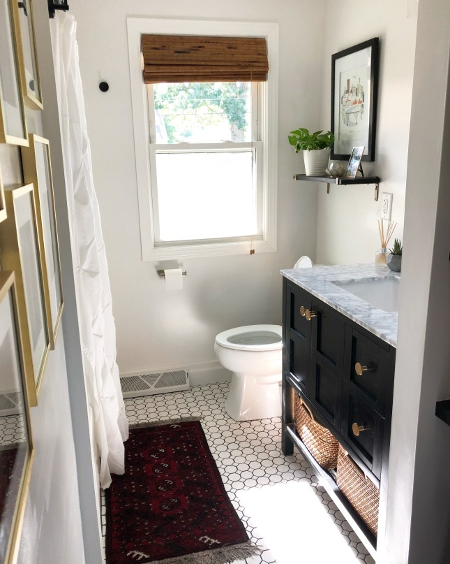 Sima Spaces bathroom remodel, before and after bathroom renovation, white and black bathroom, 1950's bathroom renovation