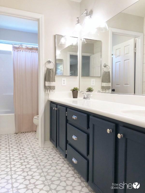 Stenciled bathroom tile by AngelaRoseHome
