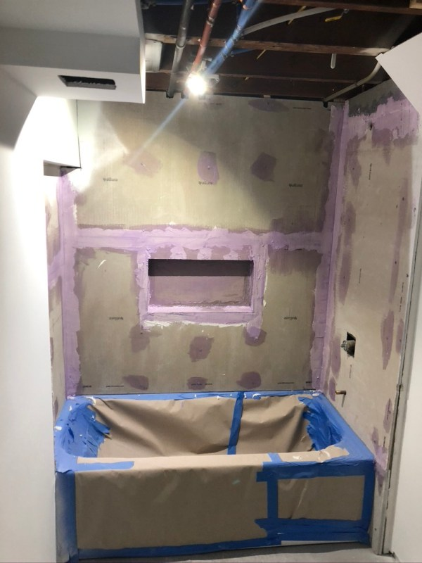 Basement bathroom, durock installed, waterproofing done