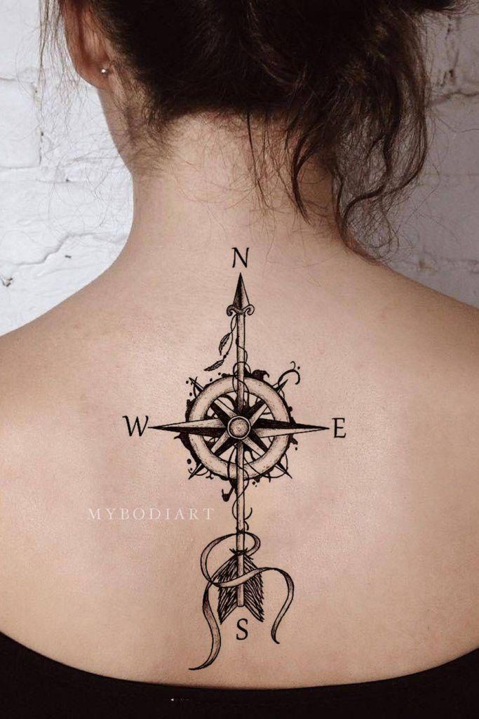 Vintage Compass Arrow Tattoo Ideas Back Tattoos For Women