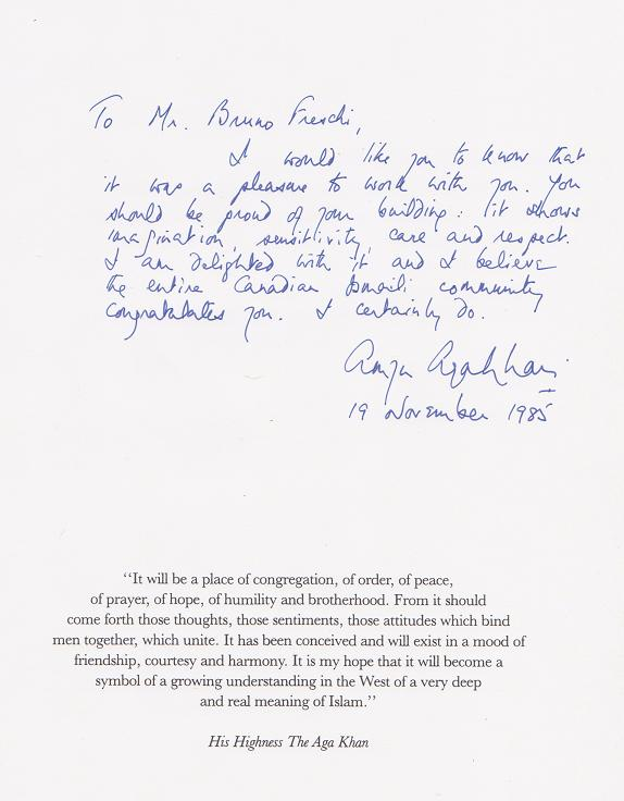 Prince Amyn Muhammad Aga Khan message to Mr. Bruno Freschi