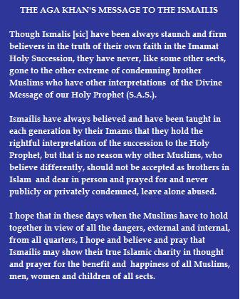 """Text of message to Ismailis. Source: """"Message to the World of Islam"""" by Aga Khan III, Karachi 1977"""