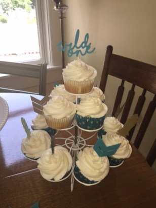 White cupcakes with buttercream icing and pow-wow toppers- (Sim)fully Sweet