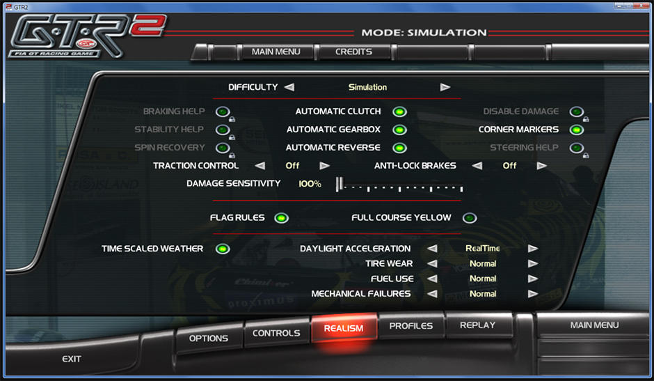 Image result for GTR2 realism settings