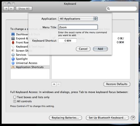 Mac OSX: Setting a keyboard shortcut for maximize/resize
