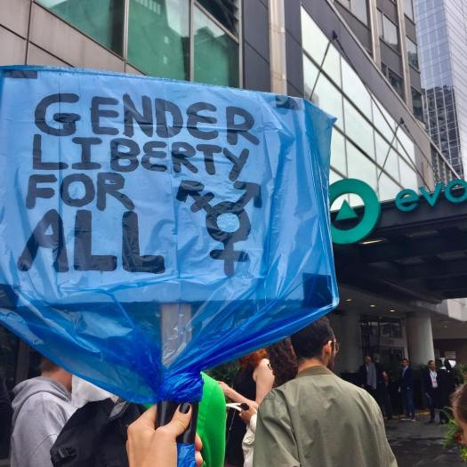 Protest sign saying Gender Liberty For All with the trans logo