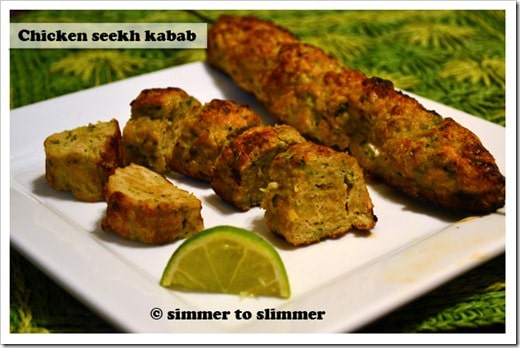 Chicken kababs make a nice accompaniment with rice / naan or for people like me – a meal in itself. Squeeze lemon juice on the kababs before serving to give them  a nice tang.