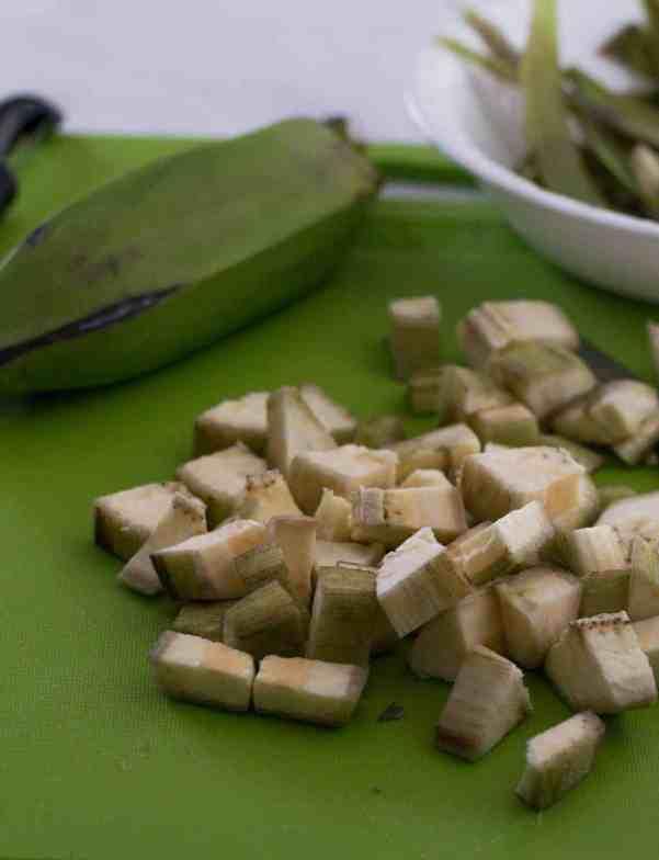 Cut plantains or kaccha kela