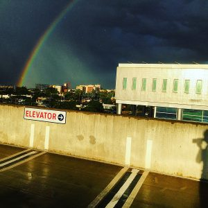 Double rainbow over McClelland Hall, as viewed from the Park Avenue Garage, UA.